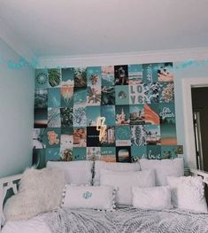 Cute Bedroom Ideas, Cute Room Decor, Girl Bedroom Designs, Room Ideas Bedroom, Bedroom Decor, Bedroom Inspo, Beachy Room Decor, Bedroom Wall Collage, Bedroom Photo Walls