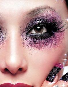 Black & Purple Glitter Fantasy Eye Makeup