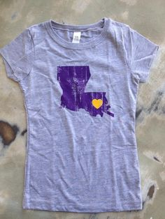 Fleurty Girl - Everything New Orleans - Louisiana Love Tween, Purple and Gold, $22.