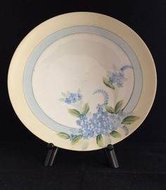 Vintage Crown Nippon Hand Painted Plate Forget-Me-Nots Blue and Yellow on White
