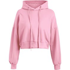 Drop Shoulder Drawstring Plain Hoodie Pink (410 ARS) ❤ liked on Polyvore featuring tops, hoodies, drop shoulder hoodie, hooded pullover, hoodie top, drawstring top and hooded sweatshirt