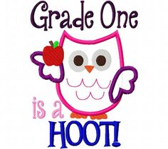 Kindergarten is a hoot Applique Machine Embroidery Design and by CindysAppliques on Etsy Applique Embroidery Designs, Machine Embroidery Applique, Appliques, Kindergarten, Projects To Try, Etsy Seller, Snoopy, Creative, Handmade Gifts