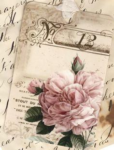 Vintage Look French Rose Gift Tags Vintage Tags, Images Vintage, Vintage Diy, Vintage Labels, Vintage Ephemera, Vintage Pictures, Vintage Paper, Vintage Postcards, Vintage Prints