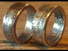 How to make double sided half dollar coin rings (walking liberty, Franklin, JFK, Barber etc.) - YouTube
