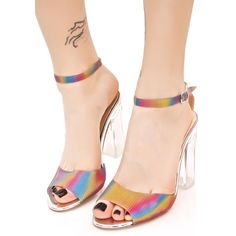 Chasing Rainbows Heeled Sandal ($38) ❤ liked on Polyvore featuring shoes, sandals, rainbow sandals, heeled sandals, ankle wrap sandals, clear heel sandals and strap heel sandals