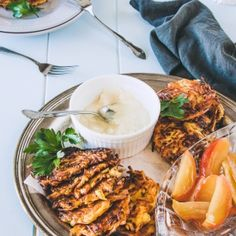 Parsnip Latkes With Mustard Cashew Cream And Honey Roasted Apples [deliciouseveryday]