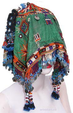 orient  Nomaden Hochzeit Kopfschmuck banjara embroidered headdress Pakistan -B