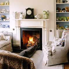 pretty things on shelves, warm fire, nice colors