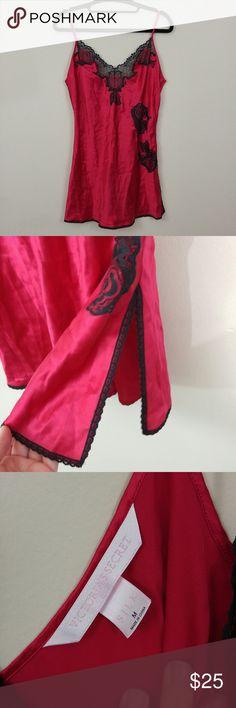 Victoria's Secret Silk Nightie Red silk nightie with black lace trim. Victoria's Secret Intimates & Sleepwear Chemises & Slips