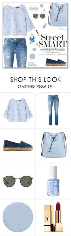 """."" by here-comes-caroline ❤ liked on Polyvore featuring Violeta by Mango, Dolce&Gabbana, Castañer, Armani Jeans, Ray-Ban, Essie, Deborah Lippmann, Yves Saint Laurent and Thierry Mugler"