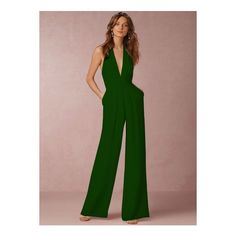 Halter V Neck Backless Wide-leg Jumpsuit ($29) ❤ liked on Polyvore featuring jumpsuits, green, green jumpsuits, v neck jumpsuit, halter top, green halter top and halter-neck tops