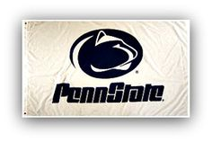 Penn State Nittany Lions White Flag • NCAA Licensed – $19,00 FREE Shipping • Flags is quality Polyester and Nylon with grommets. • 3 ft x 5 ft – With double stitching around edges. • Flag can be used inside or out. • New - unused in original factory packaging • Usually ships within 72 hours or less with tracking. • Satisfaction guaranteed or your money back. We accept all Major credit cards, PayPal, Money orders, • We offer no pick-ups – we sell from our website Sportsworldwest.com