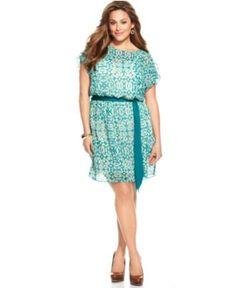 DKNYC Plus Size Dress, Short Sleeve Printed Belted - Plus Size Dresses - Plus Sizes - Macy's