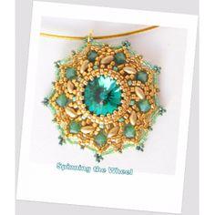 Spinning the Wheel beaded pendant pattern / tutorial via Etsy Free Beading Tutorials, Beading Patterns, Color Patterns, Beaded Brooch, Beaded Earrings, Beaded Jewelry, Beaded Bead, Jewellery, Twin Beads