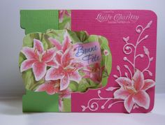 Louise Charlton's gorgeous Lily Pop N Cuts card for class using the A2 Pop 'n Cuts Base and the Label Window Insert.
