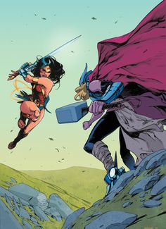 Wonder Woman v Thor Dc Comics Vs Marvel, Arte Dc Comics, Marvel Heroes, Lady Thor, Character Drawing, Comic Character, Comic Books Art, Comic Art, Wonder Woman