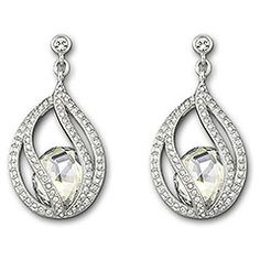 Megan Pierced Earrings Elegant and eye-catching, this on-trend silhouette demonstrates Swarovski's craftsmanship at its best. The cut Crystal Moonlight is encapsulated by intricate strands of clear crystal pavé. This exquisite pair of rhodium-plated pierced earrings adds glamour to every look. Article no.: 1062665 Approximate size: 1 3/8 inches $ 145.00