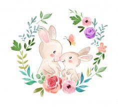 Cute rabbit family in flower wreath illu. Flower Wreath Illustration, Watercolor Illustration, Baby Animal Drawings, Cute Drawings, Wreath Watercolor, Watercolor Flowers, First Birthday Sign, Baby Animals Super Cute, Family Flowers