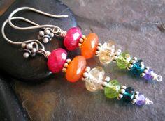 Ooooooh....  Chakra colors  (RESERVED+Chakra+Rainbow+Earrings+Healing+by+sunrisetreasures)