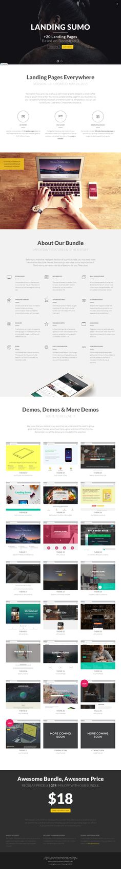 LANDING SUMO is a premium bundle with more than 20 #Bootstrap Landing Pages #Template ready to use. These themes are unique and were designed to fulfill different needs. #LandingPage