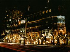 Designed by Thomas Heatherwick, 1997. Some of the larger pieces of this window scheme weighed a quarter of a tonne, and had to be suspended from wires from the outside of the building, above the windows. The design won a D & AD award for Thomas and Harvey Nichols.