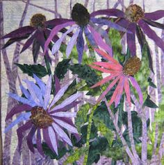 Coneflowers - Barbara Strobel Lardon Art quilts