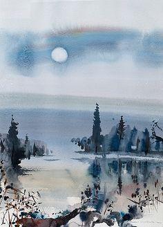 Moonlight - Nandor Mikola , 1985 Finnish Watercolour, 96 x 67 cm. Watercolor Trees, Watercolor Sketch, Watercolor Landscape, Abstract Landscape, Watercolour Paintings, Art Aquarelle, Watercolor Techniques, Painting Inspiration, Moonlight