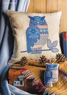 Photo from album on Yandex. Cross Stitch Cushion, Cross Stitch Owl, Cross Stitch Animals, Butterfly Embroidery, Owl Patterns, Stitch Patterns, Types Of Embroidery, Woodland, Folk