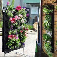 7 Pockets Hanging Flower Pot Polyester Wall-Mounted Vertical Gardening Flower Pot Planting Bag
