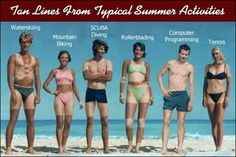 Tan Lines from Typical Summer Activities.