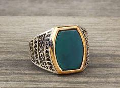 925 K Sterling Silver Man Ring  Green Jade Gemstone 9,75 US Size B14-63664 #istanbuljewelry #Statement