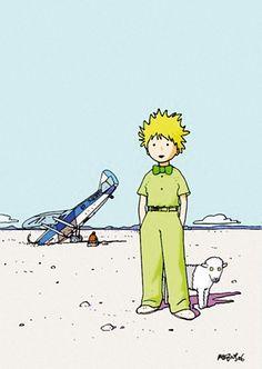 Le Petit Prince et son mouton,dessin de Jean Giraud alias Moebius (1938-2012) auteur de bandes dessinées.
