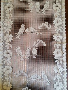 Pair French Vintage White Filet Lace Cafe Curtains Bird Pattern by FromParisToProvence on Etsy