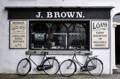 ireland by helmut flatscher on Bauhaus Art, Bicycle Store, Washing Windows, Front Gates, Shop Fronts, Coffee Shop, Art Deco, Park, Bicycles
