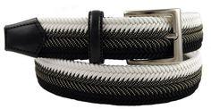 BRUCLE Cinturón elástico trenzado blanco y negro. Tg. 50 (95-110 cm.): Amazon.es: Zapatos y complementos