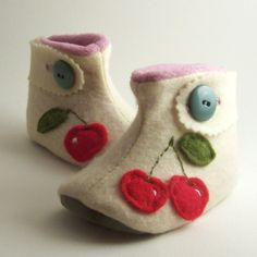 CherryButton Strap Baby Boots FREE SHIP USCANADA by elefent, $36.00