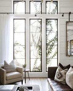 Shades for Living Room Windows . Shades for Living Room Windows . High Ceiling Living Room, Big Living Rooms, Living Room Windows, Living Room Pictures, Living Room Lighting, Rugs In Living Room, Living Room Designs, Living Room Decor, Porch Windows