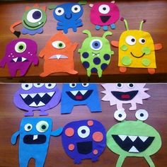 Kids Crafts, Felt Crafts, Projects For Kids, Diy For Kids, Paper Crafts, Monster Party, Monster Birthday Parties, Fete Halloween, Halloween Crafts