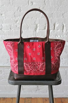 1960's era Bandana Carryall inspiration for tote bag. Replace leather with black cotton or t shirt for cheaper diy version.