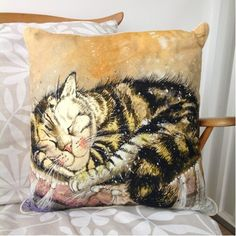 Cat Sleeping Cushion By Alex Clark - A Bentley Cushions Owl Cushion, Star Cushion, Bad Cats, Tapestry Design, Cat Sleeping, Cat Design, How To Better Yourself, Sheep, Cat Lovers