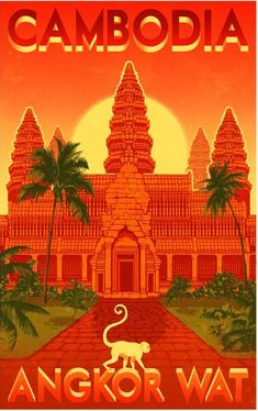 Angkor Wat vintage travel poster