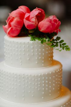 the modern dots, the coral peonies, we'll take it all #wedding #cake Photography by dlweddings.com  Read more - http://www.stylemepretty.com/2013/09/06/new-york-city-wedding-from-divine-light-photography/