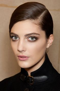 Smoky Brown eye with matte pink lips, pretty but understated.