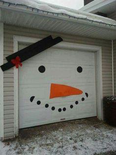 Snowman garage door