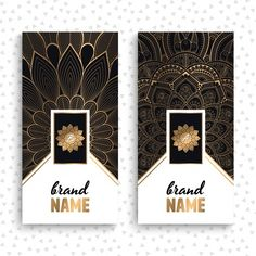 Luxury business cards with floral mandalas Free Vector