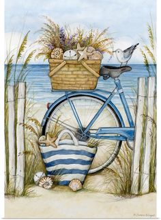 Decoupage, Bike Wall, Seaside Art, Pintura Country, Hanging Canvas, Fashion Wall Art, Tea Art, Hand Art, Canvas Art