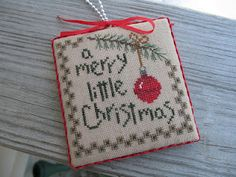 Little Christmas Ornament  Bent Creek  Use a tiny jingle bell instead of stitching the ornament!