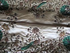 Embroidery Energetic Uzbek Suzani Fasted Birds Meadow Pattern Handmade 100% Silk.