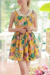 Summer Love Peter Pan Collar Floral Babydoll Dress in Mustard #dress #dresses #womenclothing #cute