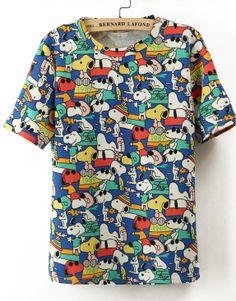 Blue Short Sleeve Snoopy Print Loose T-Shirt US$17.71